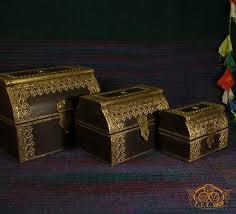 Indian <b>Wooden Treasure Chest</b> Jewelry Box - T.I.C.SHOP