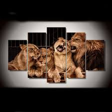Canvas Pictures Poster Modular Wall Art 5 Pieces Animals <b>Lion</b> ...