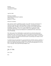 sample cover letter for scholarship cover letter sample  cover letter