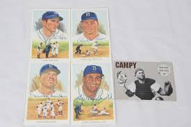 sports auctions brooklyn dodgers hall of fame celebration perez steele signed postcard 4 lot roy campanella al lopez pee wee reese duke snider