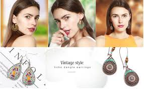 hefanny 8 Pairs Vintage Boho Jewelry Drop Dangle ... - Amazon.com