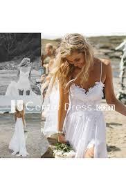 <b>Elegant Spaghetti Straps</b> Lace Appliqeus Beach Dress Long <b>Chiffon</b> ...