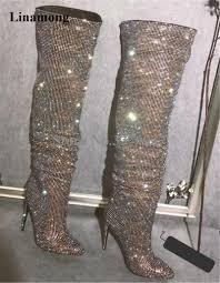 <b>New Design</b> Women <b>Fashion</b> Pointed Toe <b>Bling Bling</b> Over Knee ...