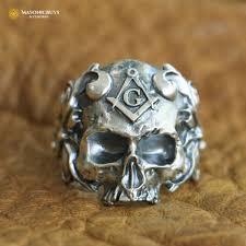 Skull Shaped Masonic Ring, <b>High Quality 925 Sterling</b> Silver ...
