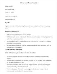 teacher resume templates – free sample  example format    sample literacy coach resume template