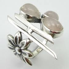 <b>925 Solid</b> Sterling Silver <b>Genuine</b> Rose Quartz 3 STONE Ring Size ...