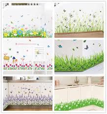 % 3D green <b>grass</b> Butterfly flowers <b>baseboard</b> PVC Wall Stickers ...