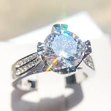 <b>Women's</b> Ring <b>1pc</b> Silver Copper Platinum Plated Imitation Diamond ...