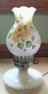 Lovely <b>Vintage Hand Painted</b> Milk Glass Hurricane Lamp, Yellow ...