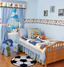 astounding design toddler boys bedroom ideas with blue paint wall and curtains bedspread also mini armchair blue themed boy kids bedroom
