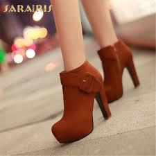 <b>SARAIRIS New</b> Plus size <b>34 43</b> autumn lace up platform booties ...