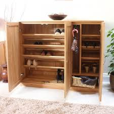 alternate image of the baumhaus mobel oak extra large shoe cupboard cor20f with doors baumhaus mobel oak extra