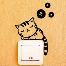 switch sticker 5 pcslot removable wall stickers sleeping cat creative casual living room wall casual living room lots