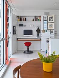 stylish computer desk redeveloper apartment example of a minimalist home office design in ottawa with apartment home office