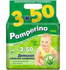 Детские <b>влажные салфетки</b> Pamperino Trio 3*<b>50 шт</b> - купить по ...