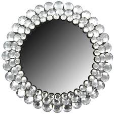 mirror wall decor circle panel: round crystal gemstone accented mirror  round crystal gemstone accented mirror