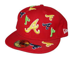 Atlanta Braves Multiple Logos Fitted Size 7 3/8 Hat Cap - Red, $24.99