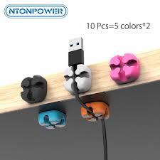 NTONPOWER <b>10PCS Cable Management</b> Organizer Soft Silicone ...