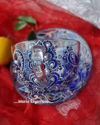 <b>Чашка с блюдцем</b> стеклянные в технике точечная роспись ...