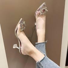 liren 2019 summer pu fashion pointed toe sandals buckle strap high heels rhinestone size 35 39