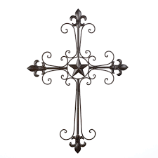 metal wall decor buy hanging details about wrought iron fleur de lis wall cross hanging home decor