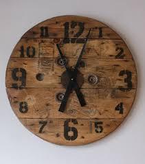 diy wooden clock wood clock wooden spool clock diy wall clock 24 loft diy loft reel projects spool projects projects to try amazoncom furniture 62quot industrial wood