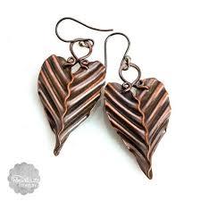 Handmade Heart <b>Leaf</b> Copper Earrings Artisan <b>Corrugated</b> Collection