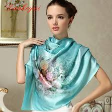 DANKEYISI 100% Mulberry Long Scarf <b>Women Silk Scarf Luxury</b> ...