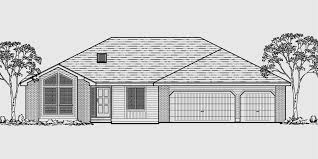 Ranch House Plan  Car Garage  Basement  StorageHouse front color elevation view for One level house plans  house plans
