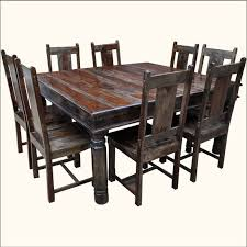 chair dining room tables rustic chairs: the chairs similarly to the table would have a rustic look i like the fact that the color of the chairs is off from the table it does a good job showing