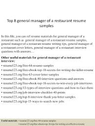 topgeneralmanagerofarestaurantresumesamples lva app thumbnail jpg cb