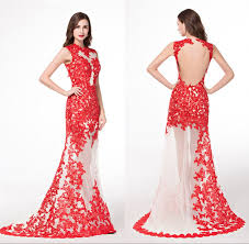Red Lace <b>Real Picture</b> See Through Evening Dresses Traditional ...