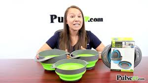 3-Piece <b>Silicone Collapsible</b> Bowls with <b>Colander</b> - YouTube