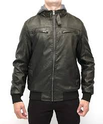 X RAY <b>Mens Faux Leather Jacket</b> with Removable Hood PU Leather ...