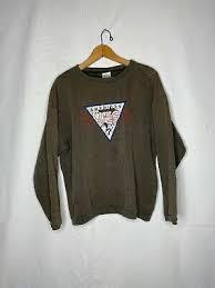 Vintage GUESS Jeans состаренная коричневый свитер с круглым ...