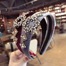 <b>Velvet Crystal</b> Pearl Flower Headbands For Women <b>Korea</b> Hair ...