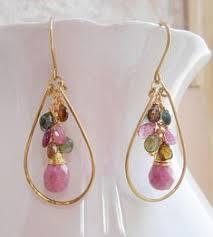 Jardin fleuri gemstone cluster hoop earrings fuchsia hot pink <b>lime</b> ...