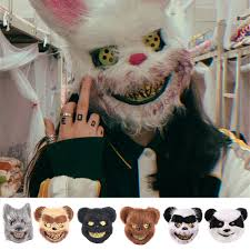 <b>Bloody Plush</b> Rabbit Mask Cos <b>Halloween Horror</b> Masquerade Party ...