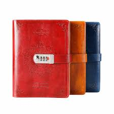 <b>NEW leather Notebook Diary</b> with lock code Bussiness Vintage diary ...