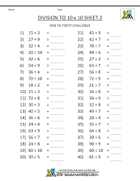 Printable Division Worksheets 3rd Gradehomeschool math worksheet printable division tables to 10x10 2