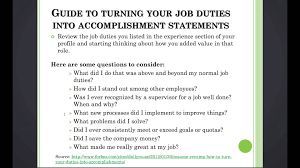 3 11 turn your job duties into accomplishment statements create 3 11 turn your job duties into accomplishment statements create an expert linkedin