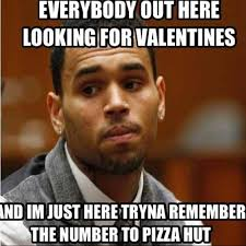 Pizza Hut v Valentines Day. Chris Brown meme | Knee Slapper ... via Relatably.com