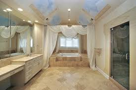 bathroom shower tile design color combinations: contemporary bathroom with sky mural ceiling earth tone color scheme and separate shower room