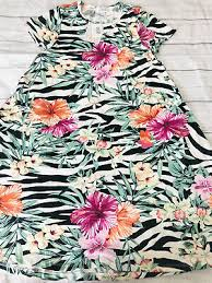 LuLaRoe Jessie XS ~ <b>Hawaiian</b> Tropical Pink <b>Floral</b> Black White ...