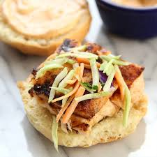Grilled <b>Salmon Sliders</b> with Chipotle Mayo - Eat. Drink. Love.