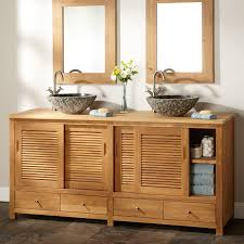 modern brown unfinished wooden bathroom cabinet with sliding door cabinet above some drawer using chrome knobs brown bathroom furniture