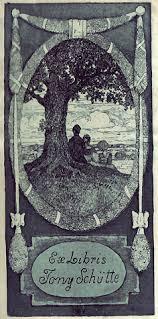 Ex Libris Tony Schütte. Radierung und Aquatinta. [1905.] 14 : 7 cm / 16,7 : 9 cm (Plattenrand / Blattgröße). In der Platte monogrammiert und bezeichnet. - 2799620