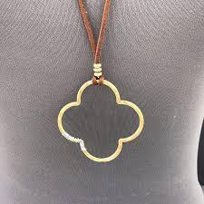 <b>necklace</b> pendant watch Black Faux Leather Gold Color <b>Clover</b> ...