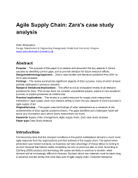 agile supply chain zara s case study analysis studypool