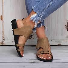 Large Size <b>Women Summer</b> Flat Heel <b>Peep Toe</b> Casual Adjustable ...